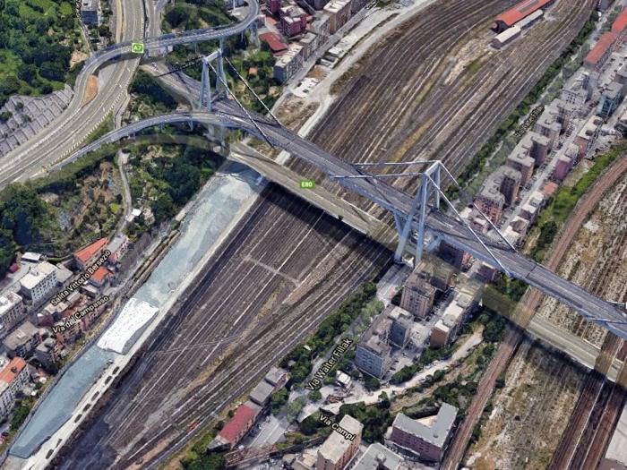 Immagini del ponte Morandi - viadotto Polcevera  - foto IPP da google maps genova