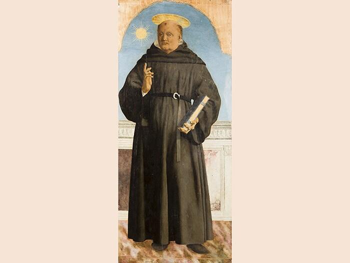 Piero della Francesca. San Nicola da Tolentino, 1454-1469. Tecnica mista su tavola, 139,4x59,2 cm. Milano, Museo Poldi Pezzoli