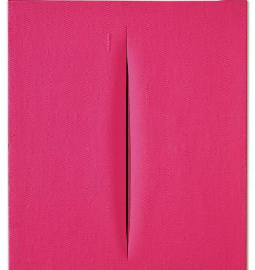 """Dorotheum: un fluorescente Concetto Spaziale """"Attesa"""" rosa di Lucio Fontana del 1964-65, idropittura su tela 46x38 cm, (realizzo 491.000 euro)"""