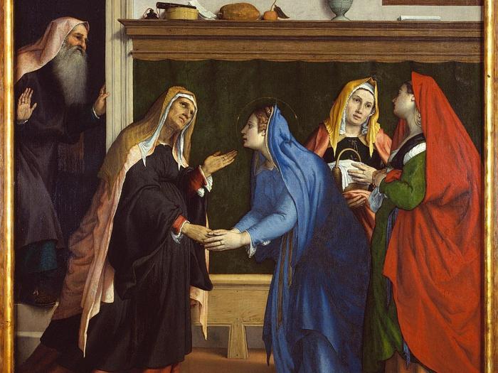 ITINERARI 6. Lorenzo Lotto. Visitazione e Annunciazione. Cimasa: Annunciazione. Olio su tela, 103 x 132 cm. Pannello: Visitazione. Olio su tela, 154 x 152 cm .Jesi, Pinacoteca Civica, Palazzo Pianeti