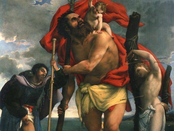 ITINERARI 7. Lorenzo Lotto. San Cristoforo con Bambino tra i santi Rocco e Sebastiano. 1532-1533 circa. Olio su tavola, 275 x 231 cm. Loreto, basilica della Santa Casa