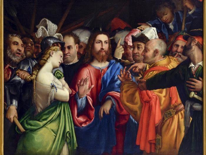 ITINERARI 8. Lorenzo Lotto. Cristo e l'adultera, 1546-1550 circa. Olio su tela, 105 x 132 cm. Loreto, Museo Pontificio Santa Casa
