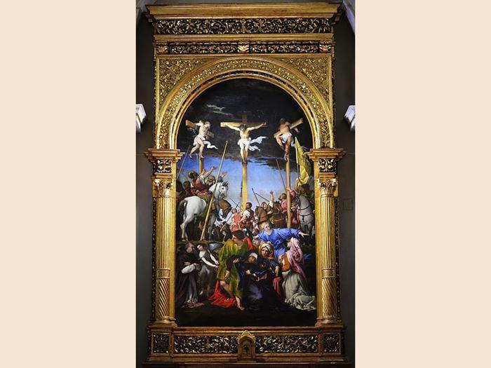 ITINERARI 15. Lorenzo Lotto. Crocifissione, 1592 - 1534. Olio su tavola, cm 45 x 25. Monte San Giusto, Santa Maria in Telusiano