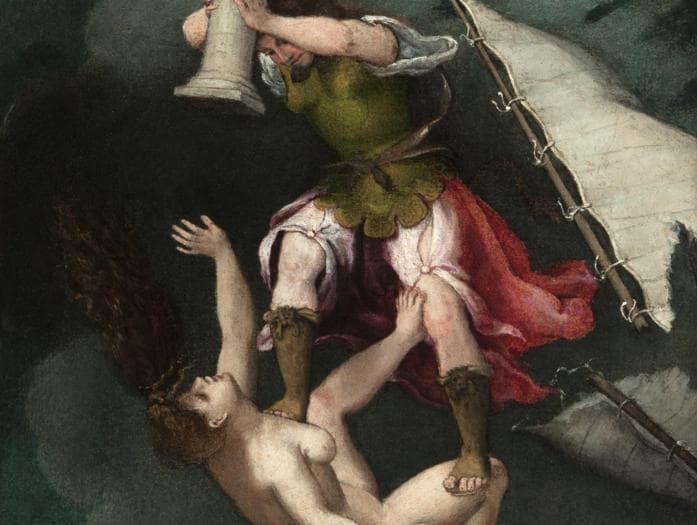 ITINERARI 11. Lorenzo Lotto. La Fortuna infelice abbattuta dalla Fortezza, 1549. Olio su tela, 50,5 x 46 cm. Loreto, Museo Pontificio Santa Casa