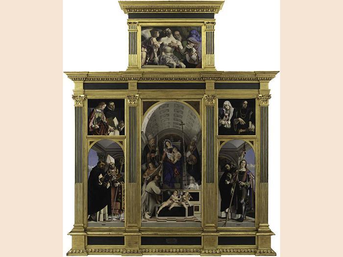 ITINERARI 16. Lorenzo Lotto.Polittico di San Domenico, 1506 - 1508. Cimasa: Cristo Morto sorretto da un angelo, san Giuseppe d' Arimatea, la Vergine e la Maddalena. Olio su tavola, cm 79,5 x 113,5 x 2,6. Pannello superiore laterale sinistro: Santa Lucia e San Vincenzo Ferrer. Olio su tavola, cm 66,5 x 67 x 2,1. Pannello superiore laterale destro: Santa Caterina da Siena e san  Sigismondo. Olio su tavola, cm 66,4 x 67,4 x 2,1. Pannello centrale: Madonna col Bambino, san Domenico  in atto di ricevere lo scapolare e i papi  Gregorio e Urbano, un angelo e due putti musicanti. Olio su tavola, cm 227,7 x 108,8 x 2,6. Pannello inferiore laterale sinistro: San Tommaso d'Aquino e san Flaviano: Olio su tavola, cm 158,5 x 66,7 x 2,4. Pannello inferiore laterale destro: San Pietro martire e San Vito. Olio su tavola, cm 158,4 x 66,2 x 2,4. Recanati, Museo Civico, Villa Colloredo Mels