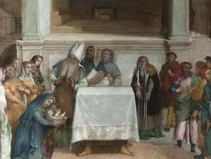 ITINERARI 14. Lorenzo Lotto. Presentazione di Gesù al Tempo. 1552 - 1556 ca. Olio su tela, cm 172 x 136,5. Loreto, Museo Pontificio Santa Casa