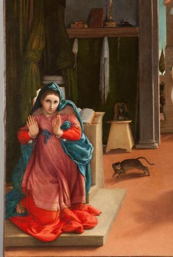 ITINERARI 19. Lorenzo Lotto. Annunciazione, 1533 - 1535. Olio su tela, 166 x 114 cm. Recanati, Museo Civico. Villa Colorredo Mels (particolare)