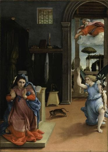 ITINERARI 19. Lorenzo Lotto. Annunciazione, 1533 - 1535. Olio su tela, 166 x 114 cm. Recanati, Museo Civico. Villa Colorredo Mels