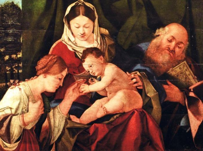 Bottega di Lorenzo Lotto. Sposalizio mistico di Santa Caterina alla presenza di san Girolamo, 1507. Olio su tavola, 36,5 x 52 x 2,5 cm. Collezione privata