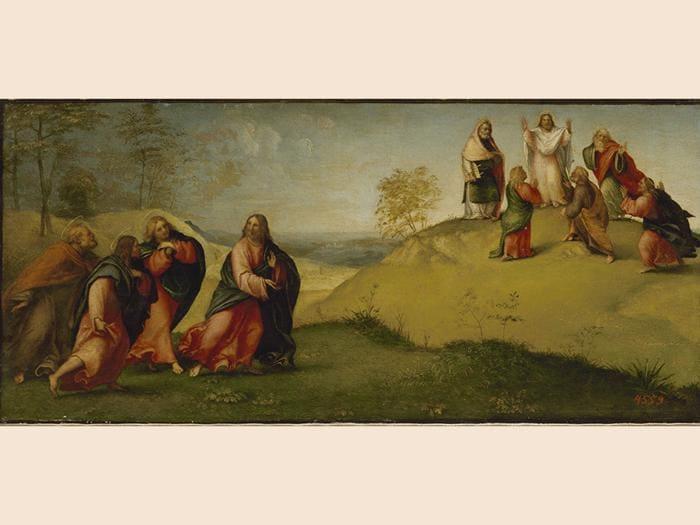 Lorenzo Lotto. Cristo conduce gli apostoli sul monte Tabor, 1511 ca. Olio su tavola, trasportato su tela, 26,5 x 58 cm. San Pietroburgo, Museo Statale Ermitage