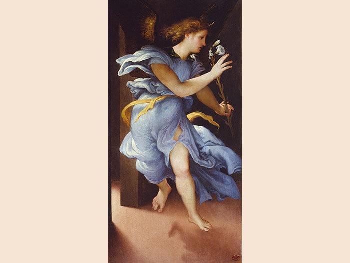 ITINERARI 3. Lorenzo Lotto. Angelo annunciante. Vergine annunciata, 1526 ca. Olio su tavola, 82 x 42 . Jesi, Pinacoteca Civica, Palazzo Pianetti