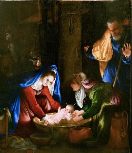 Lorenzo Lotto. Natività in notturno (Madonna che lava il Bambino), 1526. Olio su tavola, 55,5 x 45 cm. Siena, Pinacoteca Nazionale di Siena