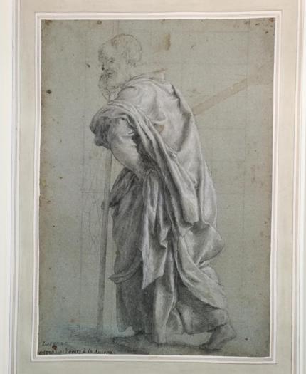 Lorenzo Lotto. Studio per il San Mattia (San Simone) della pala di Ancona, 1550. Disegno, 40,6 x 28,1 cm. Londra, The British Museum