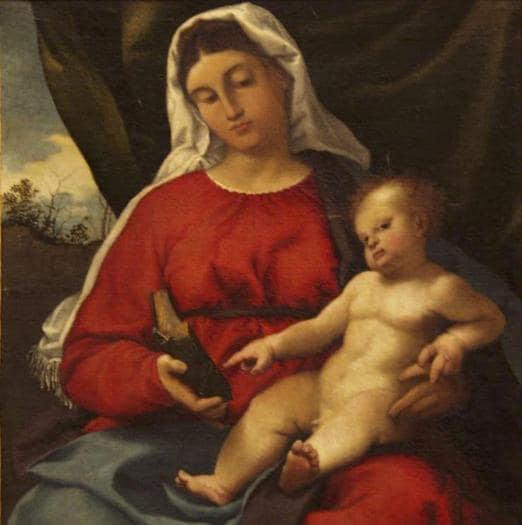 Lorenzo Lotto. Madonna col bambino, 1526 - 1529 ca. Olio su tela, 60 x 50 cm. Roma, Segretariato Generale della Presidenza della Repubblica