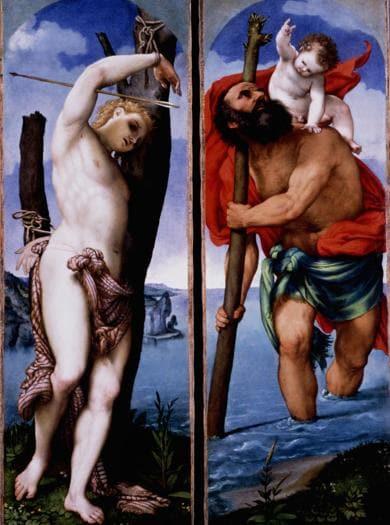 Lorenzo Lotto. San Cristoforo e San Sebastiano, 1538-1539. Olio su tela, 162 x 56,8 cm ciascuno. Berlino, Staatliche Museen su Berlin, Gemäldegalerie