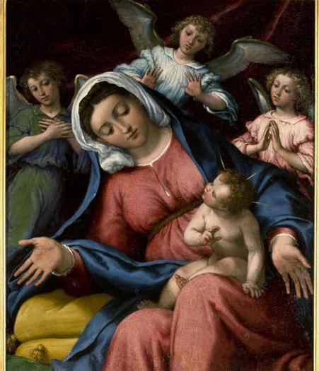 Lorenzo Lotto. Madonna delle Grazie, 1542-46 ca. Tavola, 39x32 cm. San Pietroburgo, Museo Statale Ermitage