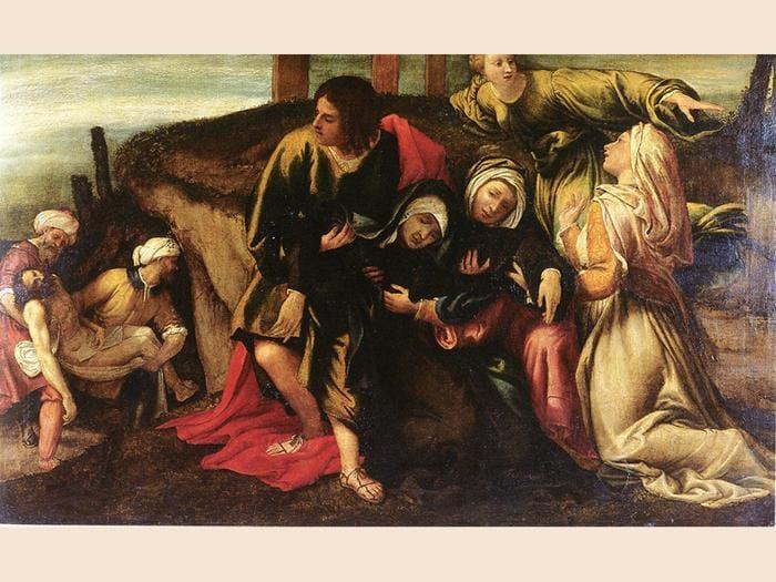 Lorenzo Lotto. Svenimento della Vergine durante il trasporto di Cristo al sepolcro, 1541. Olio su tela, 142 x 212 cm. Strasburgo, Musée des Beaux-Arts