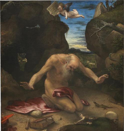 Lorenzo Lotto. San Girolamo penitento 1541546. Olio su tela, 99 x 90 cm. Madrid, Museo Nacional del Prado