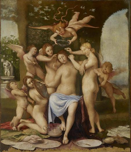 Lorenzo Lotto. Venere adornata dalle Grazie. Olio su tavola 218,5x195x10,5 cm. Collezione privata