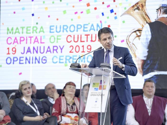 Il Premier Giuseppe Conteall'apertura di Matera 2019, capitale europea della Cultura. (ANSA/ CHIGI PALACE PRESS OFFICE/ FILIPPO ATTILI)
