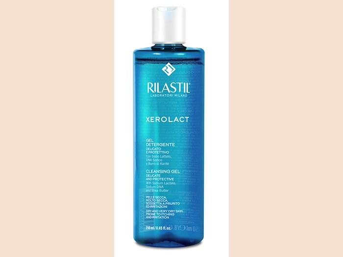 Rilastil Xerolact Gel Detergente Delicato e Protettivo, a base di Sodio Lattato, ad azione idratante e di Sodio DNA dalle proprietà elasticizzanti.