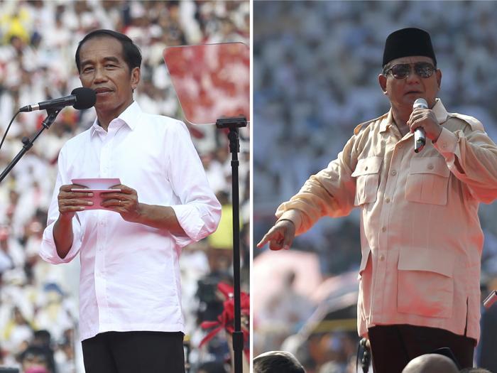 Il president Joko Widodo, a sinistra e il suo avversario Prabowo Subianto. (AP Photo)