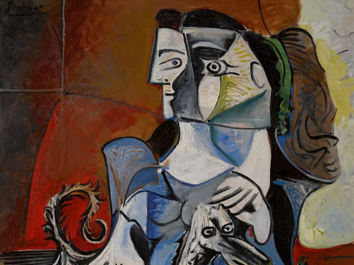 Property from a Private Collection, Japan, Pablo Picasso, Femme Au Chien. Signed Picasso (upper left)&#59; extensively dated (on the reverse), Oil on canvas, 63 3/4 by 51 1/4 in. 162 by 130 cm, Painted from November 23 to December 14, 1962. Estimate $25/30 million, Sold for $54,936,000AUCTION RECORD FOR A 1960s PICASSO