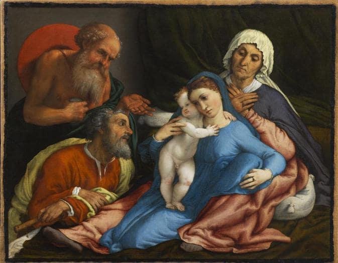 Lorenzo Lotto. Sacra Famiglia con Sant'Anna e San Gerolamo, 1534. Olio su tela, 67,2 x 85 cm. Firenze, Gallerie degli Uffizi