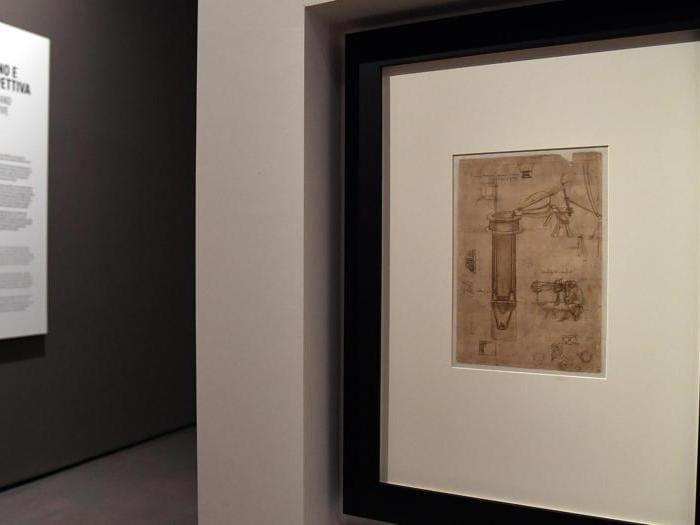 """""""Leonardo da Vinci. La scienza prima della scienza """".Una pagina del Codice Atlantico, che raffigura uno studio per una pompa idraulica e un uomo con prospetto disegnato da Leonardo Da Vinci. (Ansa / Ettore Ferrari)"""