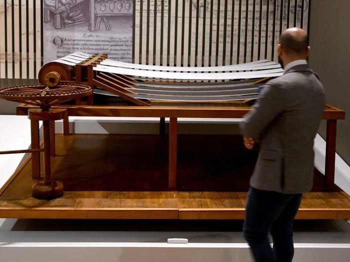 """""""Leonardo da Vinci. La scienza prima della scienza """". Una riproduzione della """"Garzatrice continua"""" di Leonardo da Vinci. (Photo by Alberto Pizzoli / Afp)"""