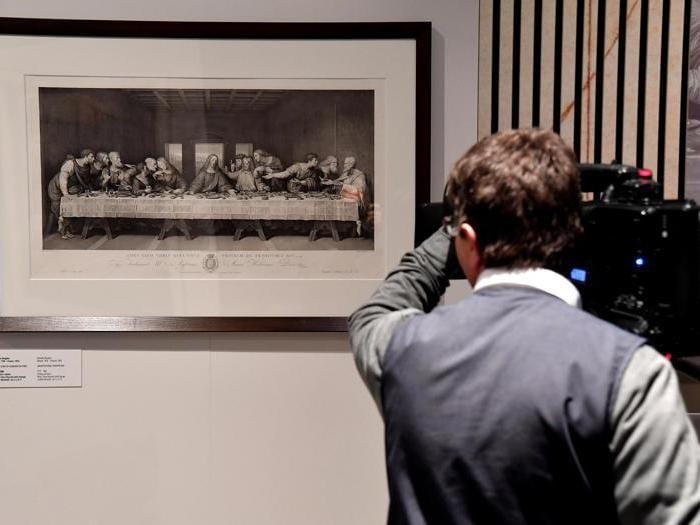 """""""Leonardo da Vinci. La scienza prima della scienza """". Il dipinto dell '""""Ultima Cena"""" dell'intagliatore italiano Raffaello Morghen. (Ansa / Ettore Ferrari)"""