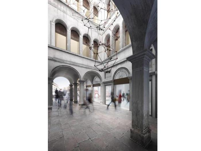 Render dell'area dell'entrata alle Procuratie vecchie - Progetto: David Chipperfield Architects