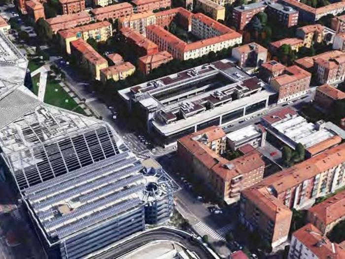 L'ex sede Telecom di Bologna, quartiere Navile dove sarà realizzato lo Studen hotel - Progetto: Matteo Fantoni