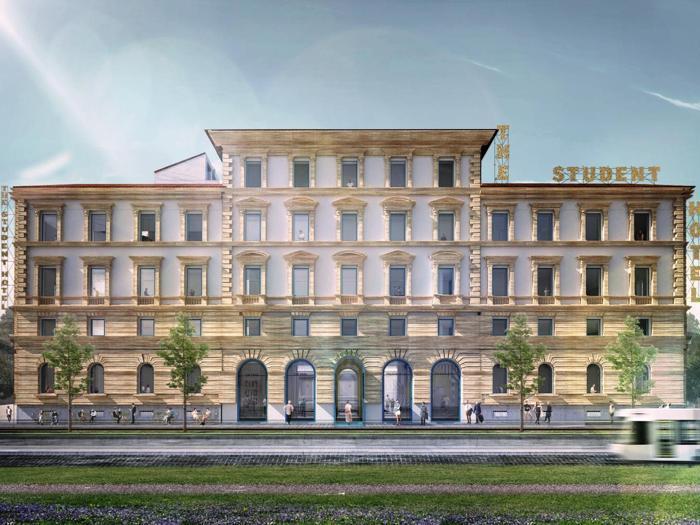 Render dello  Student Hotel che sarà realizzato a Firenze