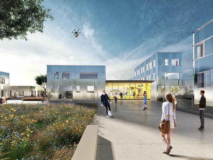 Render del progetto di recupero del lotto (ex area industriale) in cui è inserito l'hub progettato da  It's