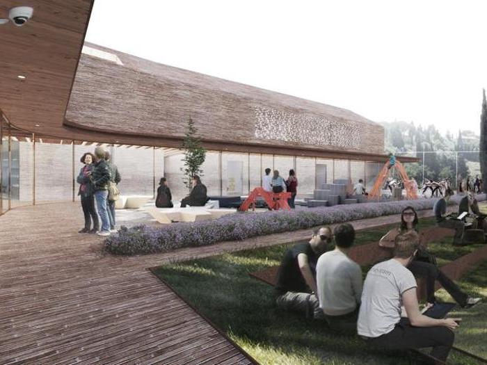 Render della Rems di Borgo San Lazzero, vicino Volterra (Pi) - Progetto - RossiProdi Associati - Giardino incontri