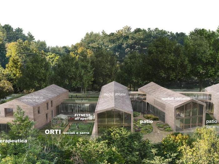 Render della Rems di Borgo San Lazzero, vicino Volterra (Pi) - Progetto - RossiProdi Associati - Vista aerea
